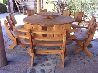 Solid oak patio set Country Round 5