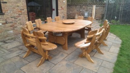 Oak patio furniture set Ricco Oval 2.4